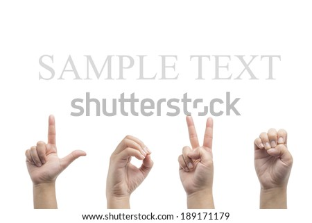 Love american sign language on white background