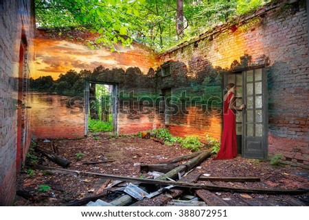 Love and beauty leave the old and ruined house - stock photo