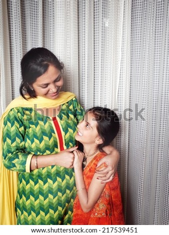 Love and care of a mother.                                                - stock photo