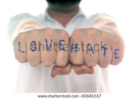 Love and Hate fists - stock photo