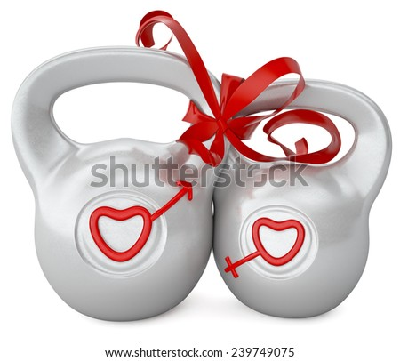 Love and heart. Gray dumbbells on a white background. Weights associated red tape. Symbol of Mars and Venus - stock photo