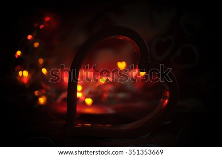 love and heart with colorful light bokeh