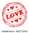 love and hearts rubber stamp - stock photo