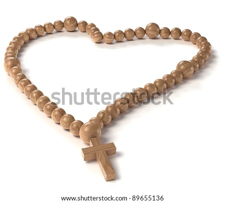 Love and Religion: chaplet or rosary beads over white - stock photo