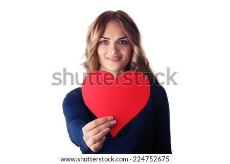 Love and valentines day woman holding heart smiling cute and adorable isolated on white background