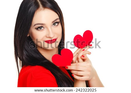 Love and valentines day woman holding hearts smiling cute and adorable isolated on white background. attractive smiling brunette woman with hearts on white background - stock photo