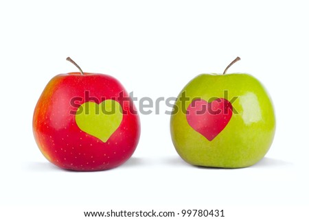Love apples, red and green apple with a heart
