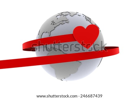 Love around the world. A heart flies around the earth with a red ribbon demonstrating love. - stock photo
