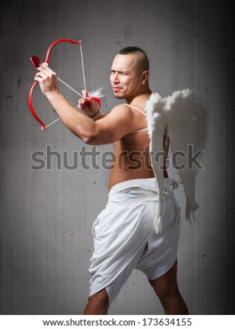 love at the firs sight for angel - stock photo