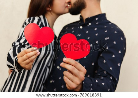 Love Background. Couple On Love With Two Red Hearts. Kiss At First Date At