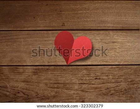 Love, background, romance, heart, shape, icon, symbol, concept, abstract, paper, folding, wood, table, notice,  vintage, wedding, celebration, couple, valentine, message,  - stock photo