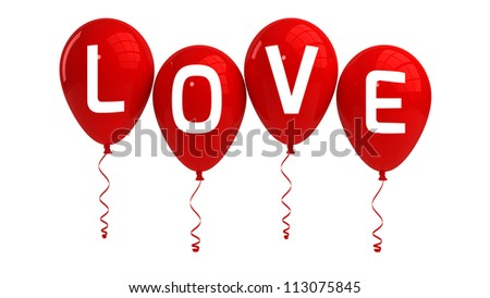 LOVE balloons, isolated, red