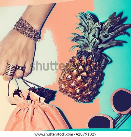 Love Beach. Love  Summer.  Love Vacation. Set Fashion Accessories - stock photo