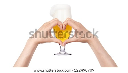 love beer concept isolated on a white background - stock photo