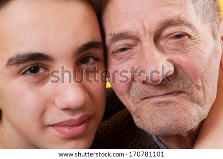 Love between generations. Contrast between the old and the young. - stock photo