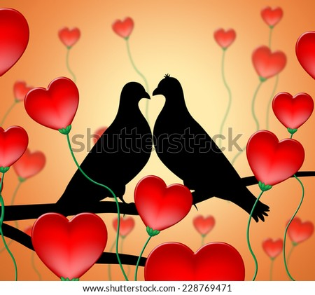 Love Birds Showing Affection Loving And Devotion - stock photo