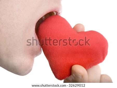 Love bite, shot on white background - stock photo