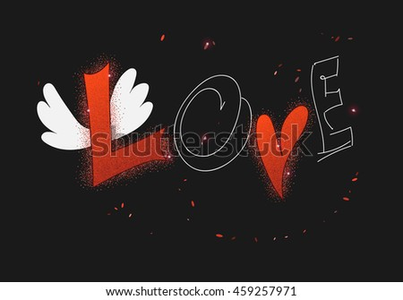love card with heart, wings and caption LOVE on dark background