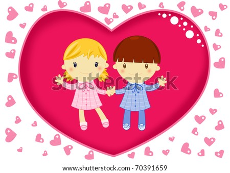 love card with young school children lovers inside a big red heart surrounded by small hearts