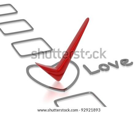 Love checklist - stock photo