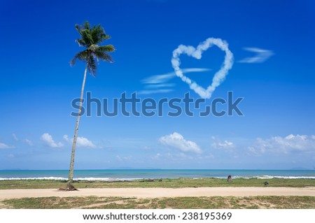 love cloud shape in the blue sky  - stock photo