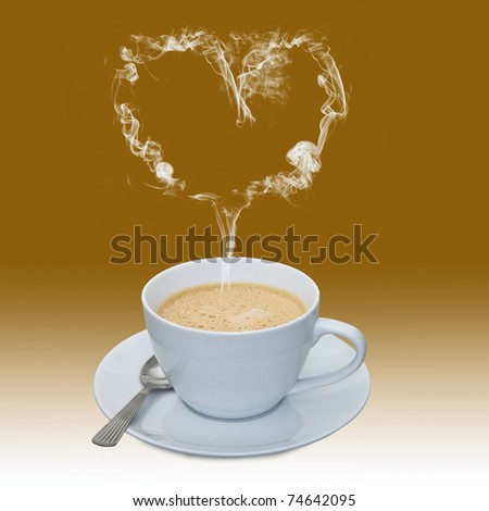 Love coffee. A cup of coffee with its steam forming a heart shape. - stock photo