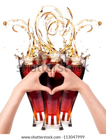 love coke concept with the heart  made of two women hands. love beer concept - stock photo