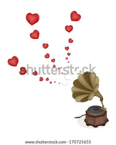 Love Concept, A Golden Gramophone or Turntable Play Romantic Music on Beautiful Brown Background with Copy Space for Text Decorated.  - stock photo