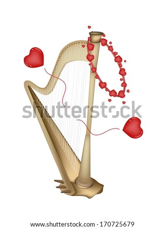 Love Concept, An Illustration of A Single Harp Playing A Romantic Music for Someone Special Isolated on White Background.  - stock photo
