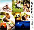 Love concept collage with various images of happy young couples - stock photo