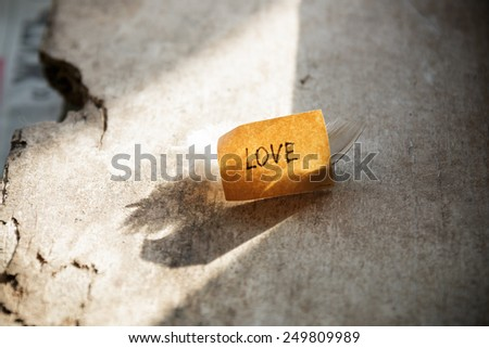 love concept. label on a wooden table and feather