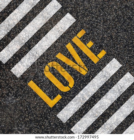 Love concept: paint on asphalt road