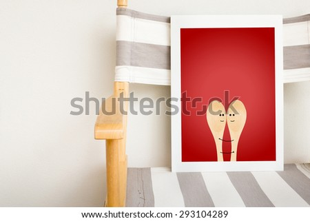 Love concept,painted spoons smiley - stock photo