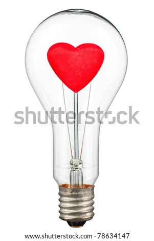Love concept - red heart in bulb. Isolated on white [with clipping path]. - stock photo