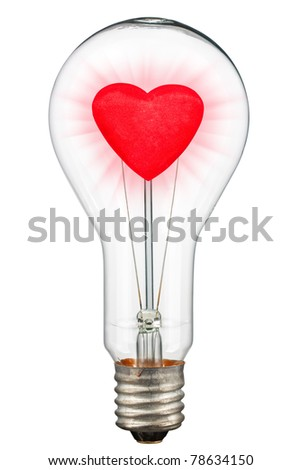 Love concept - red heart with shining in bulb. Isolated on white [with clipping path]. - stock photo
