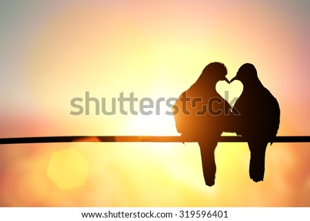 Love Concept with bird silhouette on pastel background ,lovebird,love bird - stock photo