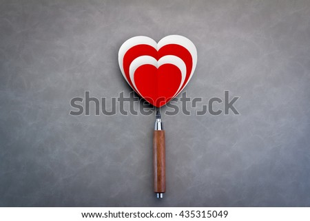 love concept with red and white paper heart shape with pencil and copy space for your text - stock photo
