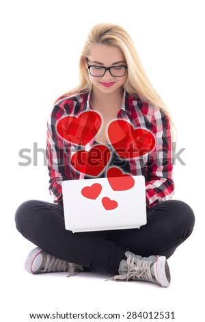 love concept - young blondie woman sitting with laptop isolated on white background - stock photo