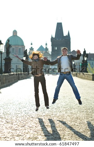 love couple in jump - stock photo