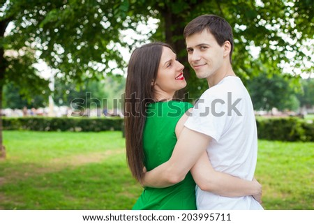 love couple out in the park with in the open air