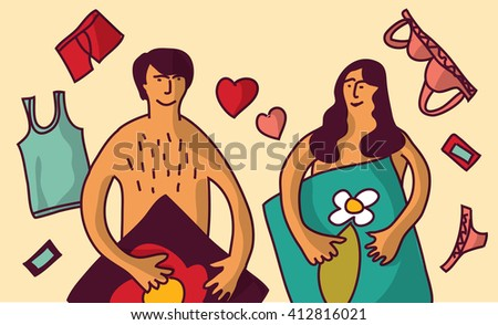 Love couple relations man and woman color. Color illustration.  - stock photo