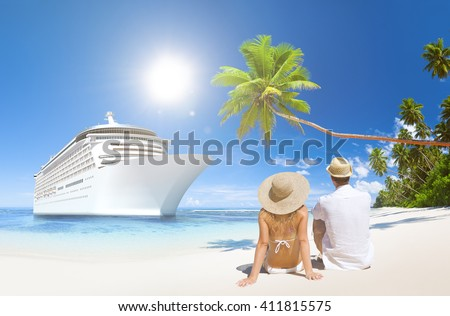 Love Couple Sitting Beach Life Concept - stock photo