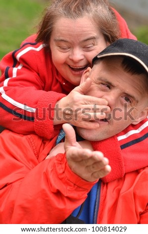 love couple with down syndrome - stock photo