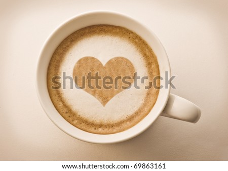 love cup , heart drawing on latte art coffee - stock photo