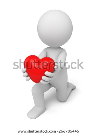 love/3d people with a red heart. 3d image. Isolated white background.