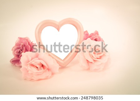 love decoration with gift box heart shape and roses for valentine day ,love ,valentine concept - stock photo