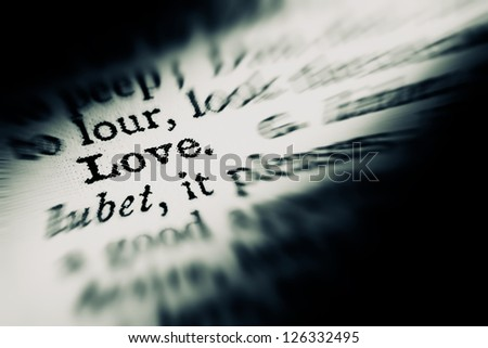Love definition in dictionary. - stock photo