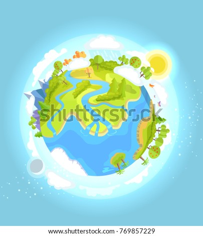 Love Earth concept with our colorful flourishing planet on blue background.  illustration of clean environment in world