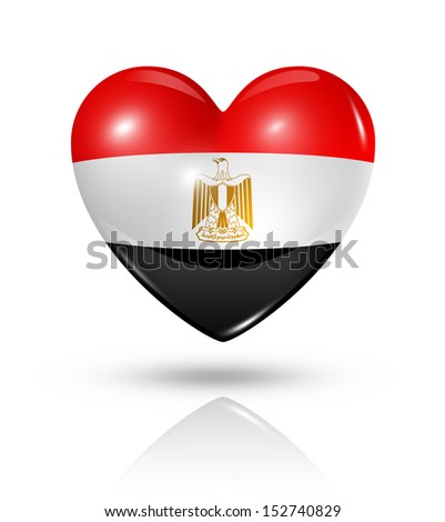 Love Egypt symbol. 3D heart flag icon isolated on white with clipping path - stock photo