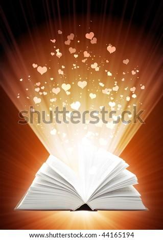 Love fairy-tale - vertical valentine background - stock photo